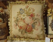 """Gorgeous 18"""" ANTIQUE Elegant Aubusson Floral NEEDLEPOINT Pillow Rose Bouquet"""
