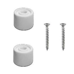 2 x White Rubber Door Stop Stops Stopper 25mm + Screws - PACK OF 2