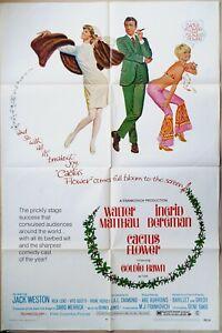 Cactus Flower 1969 Walter Matthau, Ingrid Bergman Goldie Hawn Original US Poster