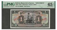 PMG Certified Specimen Banknote UNC Bolivia 1911 1 Boliviano 65 EPQ Gem ABNC