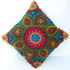 "VINTAGE PILLOW CASES DECOR INDIAN ART COTTON HANDMADE SUZANI CUSHION COVER 16"" *"