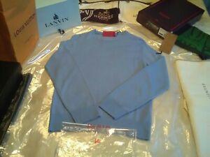 NWT £575 Isaia Napoli merino sky blue crew neck sweater S UK M 38 EU 48
