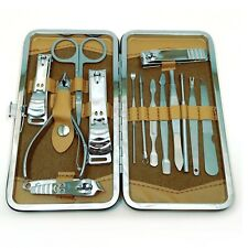 14 pc Manicure Set Pedicure Nail Clippers File Cuticle Mens Womens Case Gift