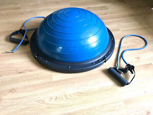Balance and core training half ball and resistance bands for bosu type exercise