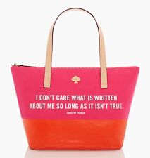 kate spade Dorothy Parker I Don't Care What Is Written Call to Action Tote NEW