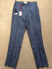 "NEXT Taloired Fit Men's Dark Grey 100% Linen Trousers, Tall Size, W30"" L33"", £32"