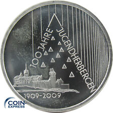 *** 10 Euro DEUTSCHLAND 2009 G 100 Jahre Jugendherbergen Silber ***