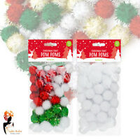 50 Christmas Pom Poms Finest Quality Plush Craft Xmas Tree Card gift Decorations