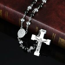 """30"""" Stainless Steel Silver Black Beaded Rosary VIRGIN MARY,JESUS CROSS Necklace"""