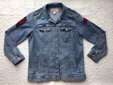 Arizona Jean Co Women's Junior Size Large Red Rose Embroidered Denim Jean Jacket