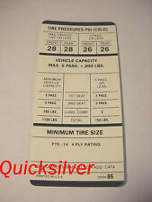 1969 Plymouth Satellite Road Runner GTX w/AC F70x14 Tire Pressure Label New