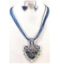 Parure ensemble dame collier boucle d'oreille bleu bijou fantaisie fête des mère