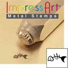 Metal stamp, punch, fish skeleton, fish bones - 6mm, metal stamping