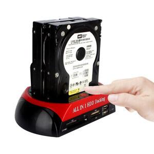 "HDD Docking Station USB2.0 to 2.5/3.5"" SSD IDE SATA Clone Hard Drive Card Reader"