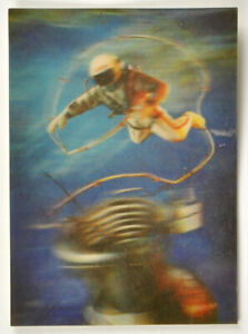 Lenticular vintage postcard 3d Stereo cosmonaut's space Olympiad 1980 USSR