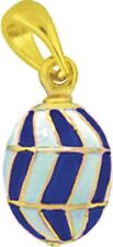Faberge Egg Pendant / Charm with crystal 1.5 cm blue #1226-11