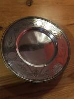 Antique Silver Plated EPNS Round Tray Salve Platter with Three Feet 18.5cm