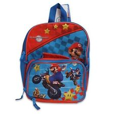 "Backpack 11"" + Detachable Lunch Bag Snack Tote Mario Kart Wii Motorcycle NWT"