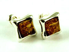 **BEAUTIFUL STERLING SILVER SQUARE CABOCHON COGNAC AMBER STUD EARRINGS**
