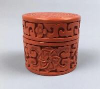 Japanese Antique Tea Ceremony TSUISHU Red Lacquerware Very Small Tea Caddy d1011