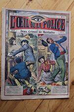 Rarissime L' OEIL DE LA POLICE 2A/23 Deux crimes de Bestialité / Satyre Alcool