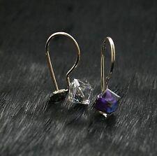 9ct Gold Ladies/Kids Delicate Drop Safety Hook 3D Cube Earrings