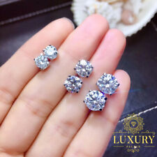 Moissanite Round Cut Sterling Silver Platinum Plated Solitaire Stud Earrings