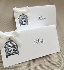 10 x Handmade Personalised Vintage Birdcage Ribbon Name Place Cards - wedding