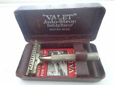 VINTAGE BRITISH MADE VALET AUTO STROP SAFETY RAZOR IN ORIGINAL CASE INSTRUCTIONS
