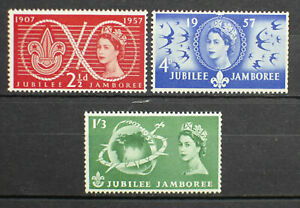 GB 1957 SG557-59 WORLD SCOUT JUBILEE JAMBOREE COMPLETE SET -  MNH