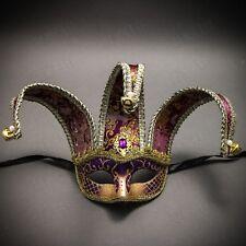 Purple Gold Venetian Jolly Jester Mardi Gras Mask Halloween Masquerade Costume
