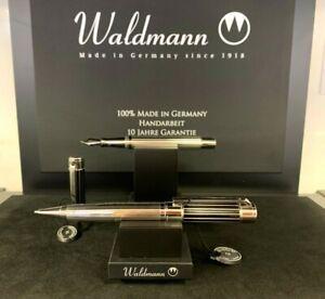 Waldmann Commander Schreibgerät Füllfederhalter / Kugelschreiber Silber NEU!
