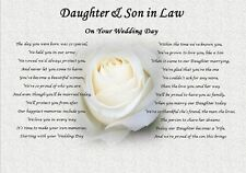 DAUGHTER & SON IN LAW- Wedding Day (Poem gift) - rose