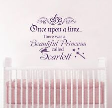 Once Upon a Time Decal Quote Girls Name Wall Decals Nursery Sticker Vinyl T41