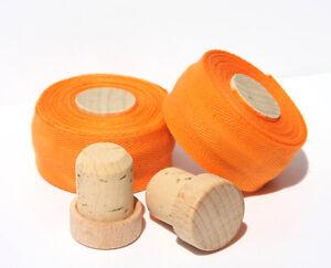 Textil Lenkerband Bio Baumwolle, Holz/Kork Stopfen, Retro Vintage,  orange