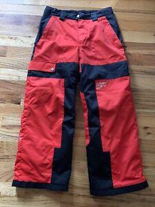 Boys Obermeyer Ski Pants Size 10 Snowboarding Red & Black GUC