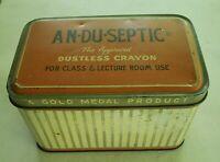 Antique AN-DU-SEPTIC Dustless Crayon Tin Orange vintage farmhouse deco