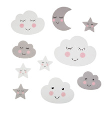 Childrens Wall Stickers Grey And White  Clouds Stars Nursery Bedroom Kids Art