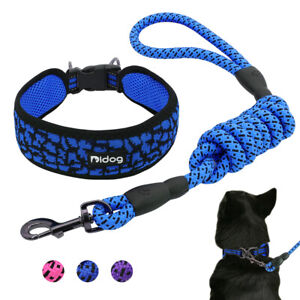 """2"""" Wide Reflective Pet Dog Collar and Lead set Soft Mesh with Rolled Nylon Leash"""