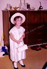 Vintage 1950's Photo Slide of Cute Little Girl Dressed in Mother's Clothes & Hat