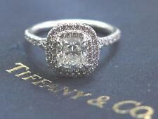 Tiffany & Co Platinum Cushion Cut Diamond Soleste Engagement Ring 1.34Ct H-VVS1