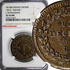 "France Strasbourg Issue 1814 BB Decime NGC XF45 BN KEY DATE ""L"" Monogram KM# 701"