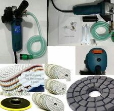 "Wet Polisher Grinder 4"" Concrete Marble Stone Wet Polishing Kit w 12 Diamond Pad"