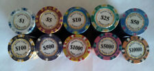 500 poker chips Monte Carlo 14 gram choice of 10 denominations