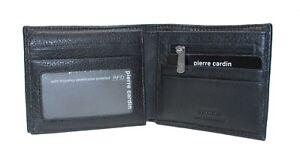 Gift Pierre Cardin Mens Genuine Italian Leather Boifold Wallet RFID Black Brown