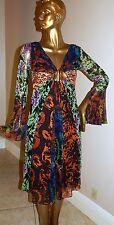 New Diane Von Furstenberg 100% Silk Multi Color Flowing Dress sz 8