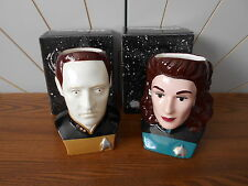 DATA and DEANNA TROI character mugs STAR TREK THE NEXT GENERATION Applause 1994