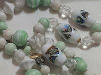 """Art Milk Glass Beads VTG Beaded Necklace Estate 28"""" Green White Glitter 1950-60s"""