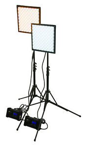 SkyFiller 1x1 50w BiColor LED Light, 2x Lighting Kit with Stands and Case