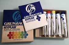 Vtg Grumbacher Hyplar acrylic colors paint intro set #622 .81 fl oz tubes